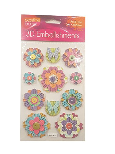 Passtime Crafts 3D Floral Flower Embellishments - Pack of 2 Sheets (Card Craft Embellishments)