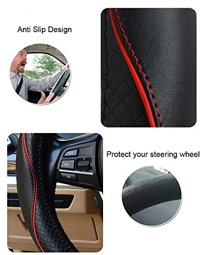 Black, 15inch Steering Wheel Cover Protector Genuine Leather For Car Auto//Truck//SUV//Van Heavy Duty Durable Sporty Wave Pattern Universal 15 Inch