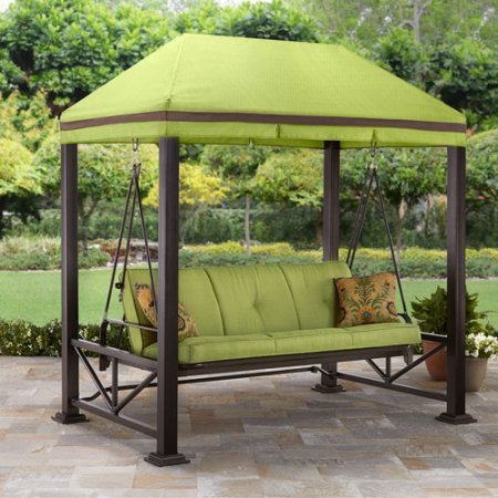 Better Homes and Gardens Sullivan Pointe 3-Person Outdoor Swing with Gazebo, Green by Better Homes and Gardens