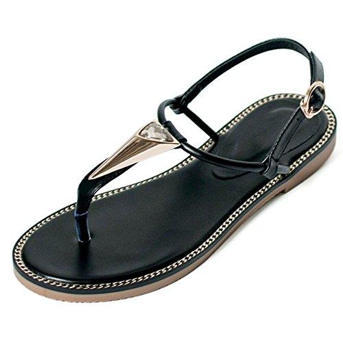 dedo del pie del clip tacones negros planos de las sandalias flip zapatos femeninos Xia Jiping US6.5-7 / EU37 / UK4.5-5 / CN37