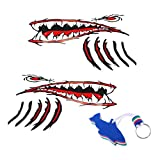 Homyl 2 Pieces Large Vinyl Adhesive Shark Teeth Mouth Eyes Stickers Kayak Fishing Boat Funny Decals & Floating Keyring Keychain Float