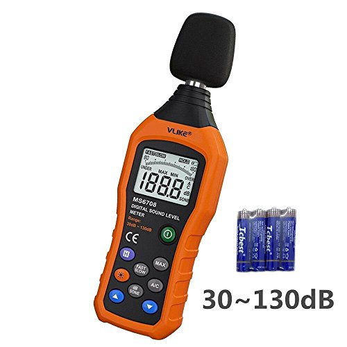 VLIKE LCD Digital Audio Decibel Meter Sound Level Meter Noise Level Meter Sound Monitor dB Meter Noise Measurement Measuring 30 dB to 130 dB Date Logger Tester (Level Sound Pressure Meter)
