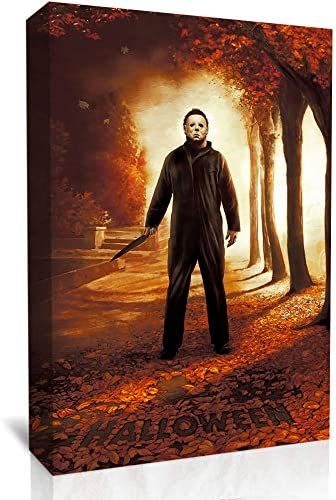 UETECH Ready to Hang Frame Halloween Michael Myers Wood Knife Wall Art Original Designed Pop 24 x 36 inche