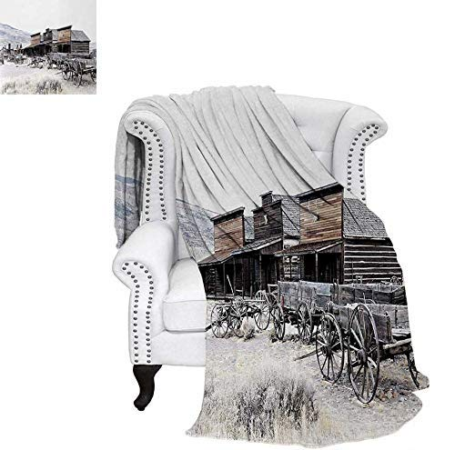 CHASOEA Digital Printing Blanket Old Wooden Wagons from 20s in Ghost Town Antique Wyoming Wheels Artwork Print Summer Quilt Comforter 60