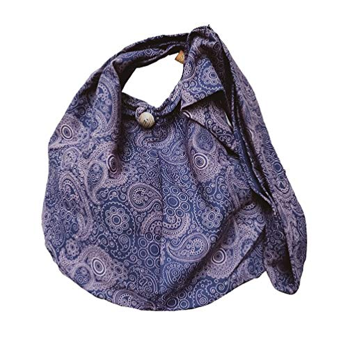 BTP! Thai Cotton Hippie Hobo Sling Crossbody Bag Messenger Purse Paisley Print Large (Dark Blue PL29)