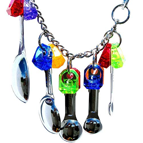 (Bird Toys - Handmade Bird Chew Toy Parrot Hanging Stainless Steel Spoon Sports Small Shoes String Pet Playing - Accessories Dollars Under Made Prime Beads Paper Canary Ball Ladder Leather Spoo)