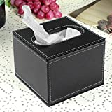 Black PU Leather Square Home Office Car Tissue Paper Box