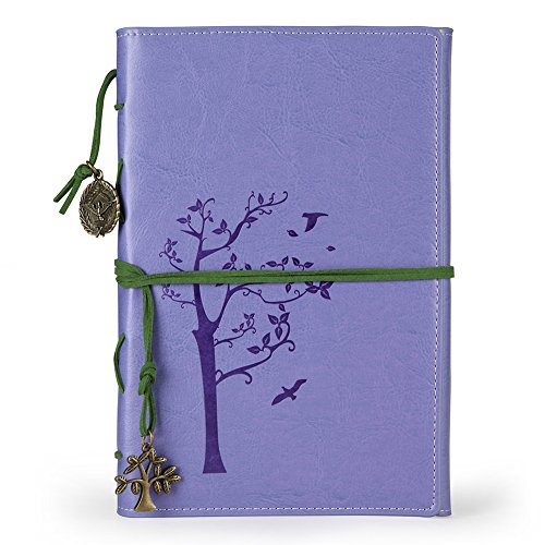 Vintage Faux leather writing journal,refillable diary notebook,for men/women /girls/travelers/ (A5, Purple)