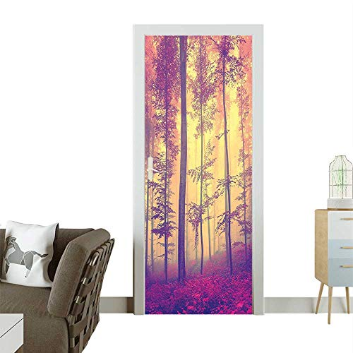 Homesonne Door Sticker Wallpaper Peaceful Fantasy Mist Fog Fall Sun Rays Vintage Red Light Yellow Fashion and Various patternW35.4 x H78.7 INCH ()