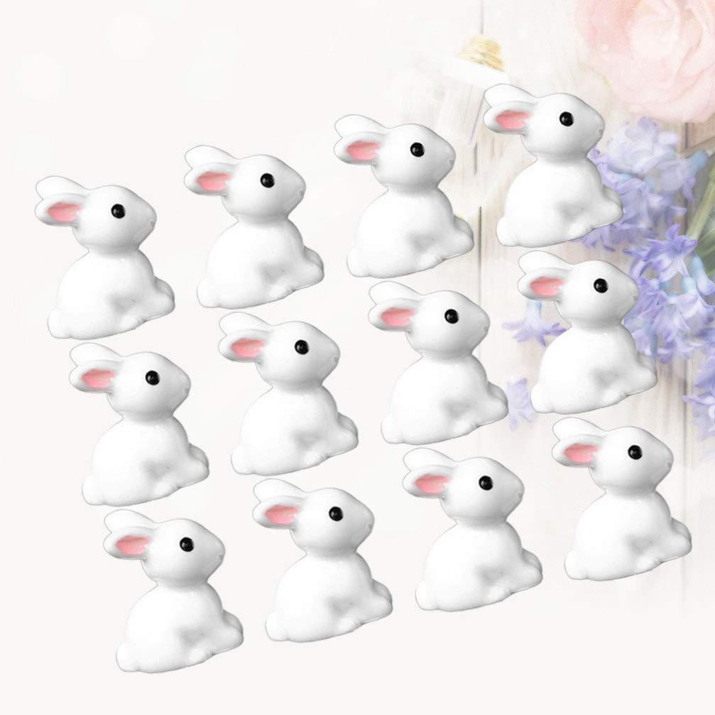 Healifty 15Pcs Miniature in Miniatura Coniglietto Figurine Ornamenti Decorazioni da Giardino Fata Toppers Torta Festa di Pasqua Favorisce Regali