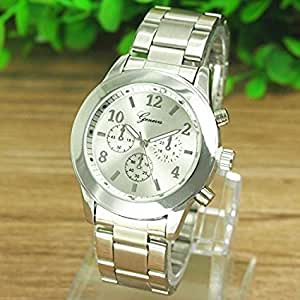 Fashion Women Watch Fashion Geneva Ladies Women Girl Unisex Stainless Steel Quartz Wrist Watch , Sports style and Attractive design, 100% brand new and high quality (Silcer)