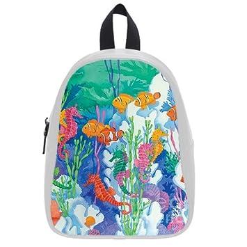 6c085387d82c Amazon.com   Fashion High-grade PU leather Seahorse School Book Travel Bag  Backpack Daypack For Boys Girls Medium   Baby