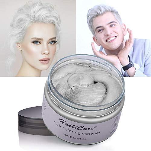 Cera Cabello Blanco, HailiCare Crema Colorante Pelo Temporal para DIY Colorear y Modelar el Cabello de Moda para Hombres y Mujeres