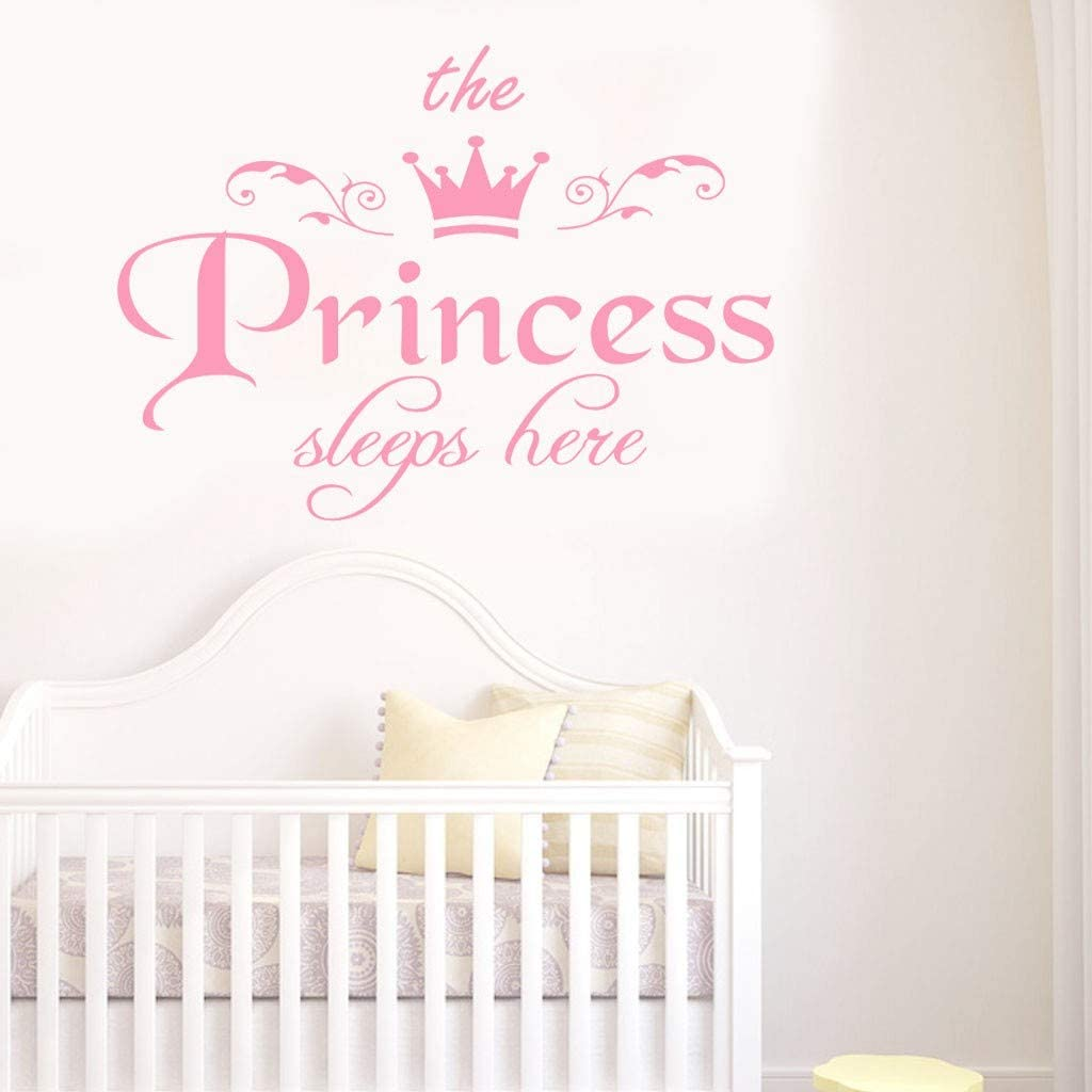 Wenjuan The Princess Decal Living Room Nursery Room Vinyl Carving Wall Decor Wall Decal Sticker Girls Room Decorations for Bedroom (Pink)