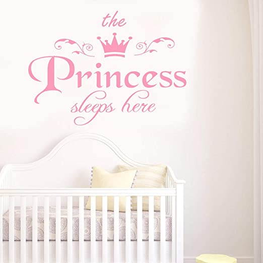 Wall sticker the pricess sleeps here kids room decor decal DIY removable sticker