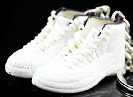 bd754a2c4f0f0e Amazon.com   Air Jordan XII 12 Retro Rising Sun All White OG Sneakers Shoes  3D Keychain Figure   Everything Else