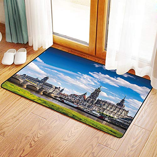 Non-Slip Mat Microfiber Bathroom Rug Shower Mat, Cityscape,Ancient Town Dresden Old German Architecture Histori, Ultra Soft and Water Absorbent Bath Rug,Machine Wash/Dry 20x 31 inches ()