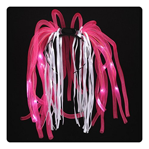 [LED Flashing Light Up Hair Noodles - Pink] (Halloween Costumes With Pink Hair)
