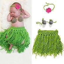 yazi Green Bra Headband Hula Crochet Knit Costume Newborn Baby Girls Photo Photography Props Outfits