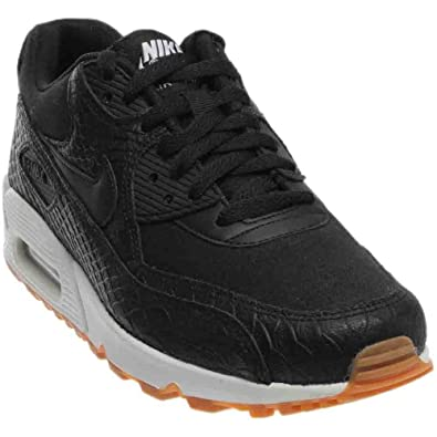 Nike Women's Air Max 90 Premium Black/Black-Gum Yellow-White 896497-