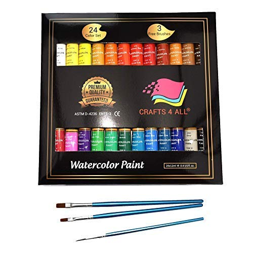 (Watercolor Paint Set by Crafts 4 All 24 Premium Quality Art Watercolors Painting Kit for Artists, Students & Beginners - Perfect for Landscape and Portrait Paintings on Canvas (24 x)