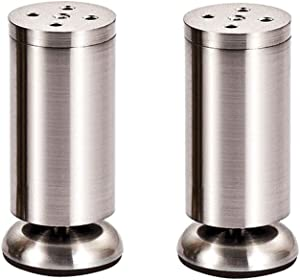 2 Pieces, Adjustable Metal Brushed Furniture Support Feet, Sofa/Cabinet/Table Legs