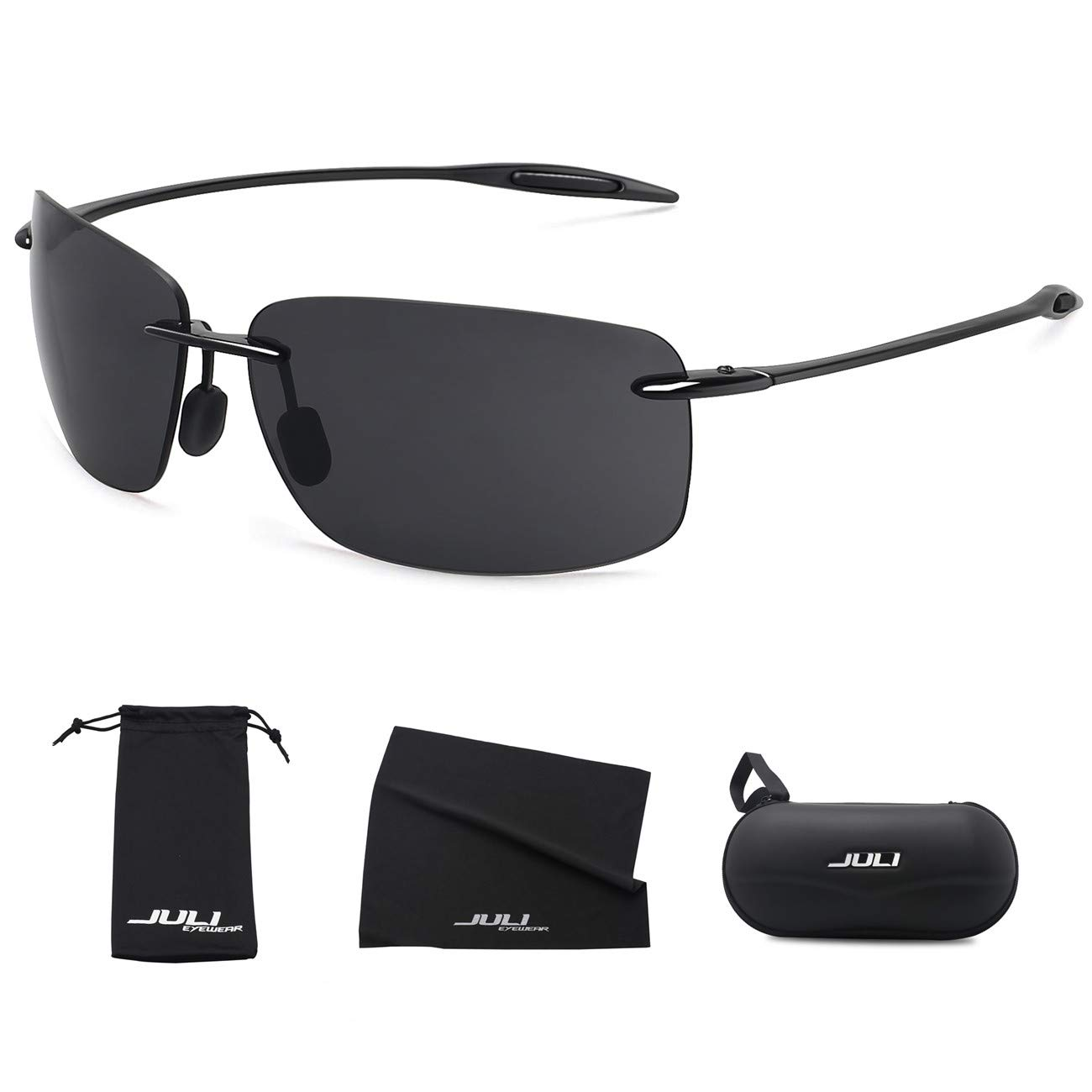 c99e2a2bf40 Details about JULI Sports Sunglasses for Men Women Tr90 Rimless Frame for  Running Fishing Golf
