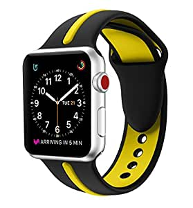 EloBeth for Apple Watch Band, Soft Silicone Sport Style Replacement Wrist Strap Stripe Color Splicing for Apple Watch Bands Series 3/Series 2/Series 1 (38mm Black/Yellow)