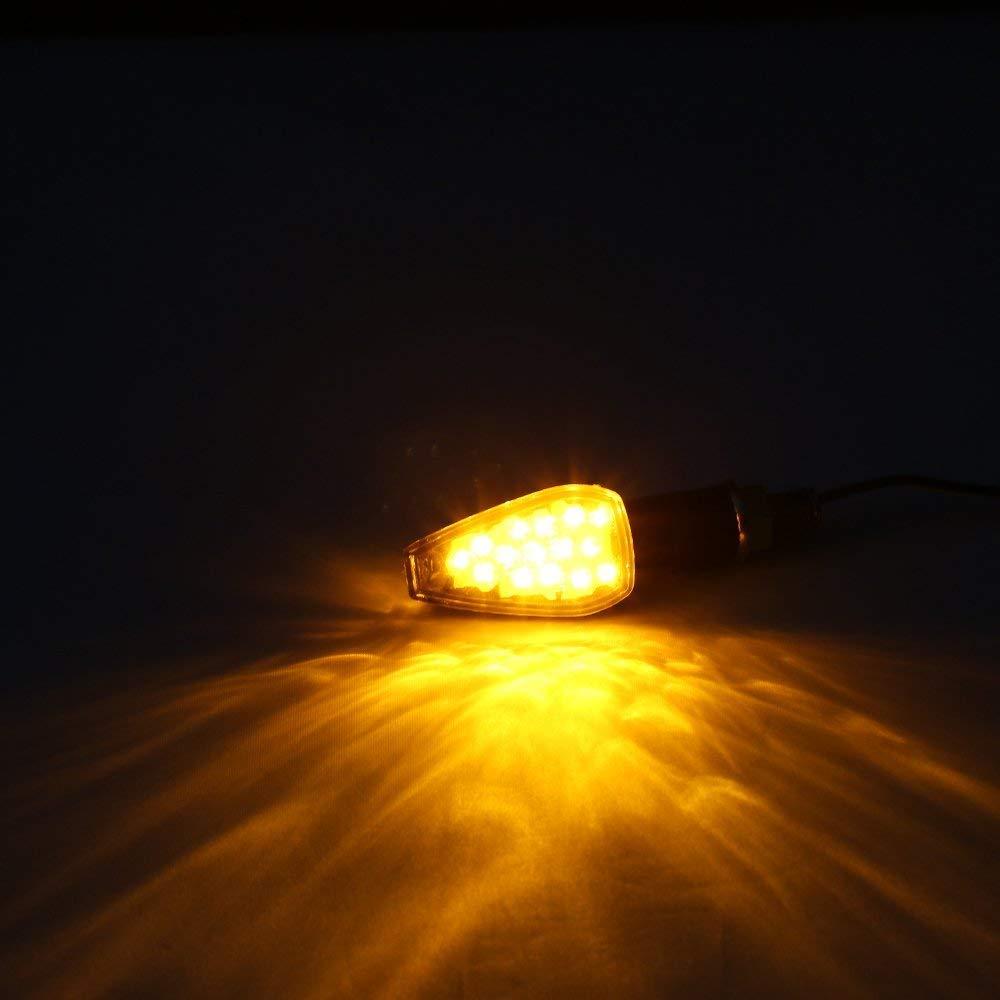 Negro 2 PC 14 LED /Ámbar de Motos L/ámparas Luces de Direcci/ón Se/ñales Universal de la Motocicleta de Yamaha R1 R6 FZ XT WR TW TT-R HANEU Intermitentes moto