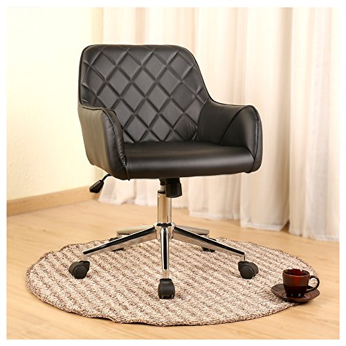 Veigar Stylish Office Chair PU Leather Mid Back Executive Home Office Chair with Adjustable Height, Desk Chair Task Chair Swivel Chair (black) by Veigar