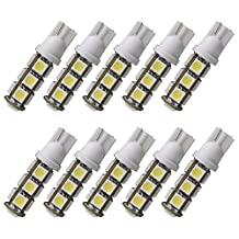 Enegitech T10 W5W Wedge 168 192 2825 13-5050-SMD LED Light Bulb Car Interior Dome Map Reading Lights Backup Reverse Replacement Lamp for RV Trailer Truck SUV, Pack of 10, Cool White