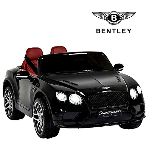 Uenjoy 12V Bentley Car 2 Seats Ride On Car w/Remote Control,Head Lights,Foot Pedal,2 Speeds,Music,2.4G Bluetooth Remote Controller,MP3 Player,USB (Black)