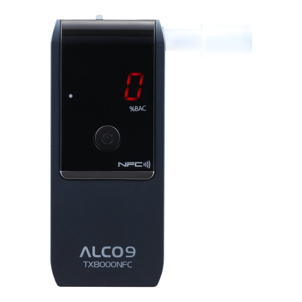 ALCO9 TX8000NFC Fuel Cell Breathalyzer Portable Breath Alcohol Tester Detector with LCD Display