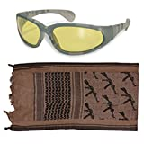 Tactical Rifle Brown Shemagh + ACU Digital Amber Lens UV400 Sunglasses