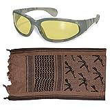Tactical Rifle Brown Shemagh + ACU Digital Amber Lens UV400 Sunglasses