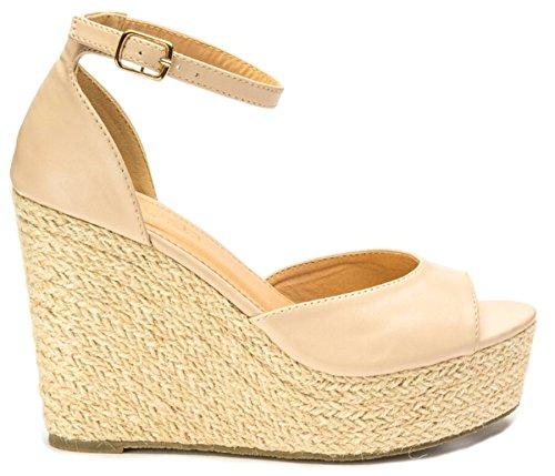 Plattform Schuhe Sommer Damen Kunstleder Nude Damen Sandalen Fall Keilabsatz Größe Toe Knöchelriemen Espadrille Auf jeden hohe Peep Sie pq46wxcSU7