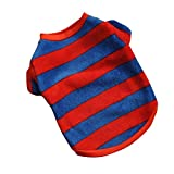 Haogo Pet Puppy Shirt Clothes Striped Polar Fleece Vest T shirt for Small Dog Pet Blue Red XS For Sale