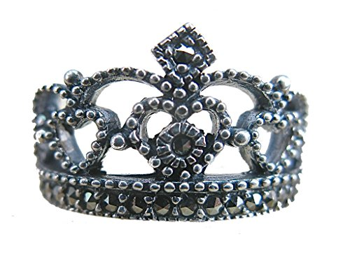 (Faith Owl Crown Marcasite Filigree Tiara 925 Sterling Silver Ring (6))