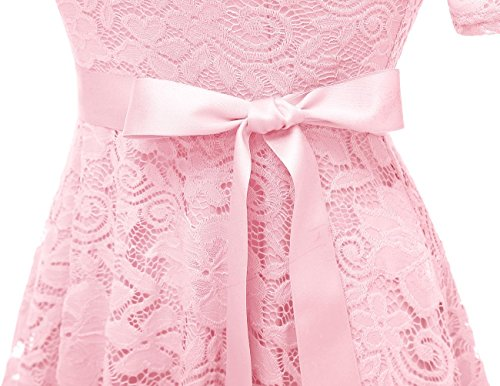 Lace Cocktail Swing Floral Dress Bridesmaid Short Scoop Formal DRESSTELLS Dress Pink I6ZS1x