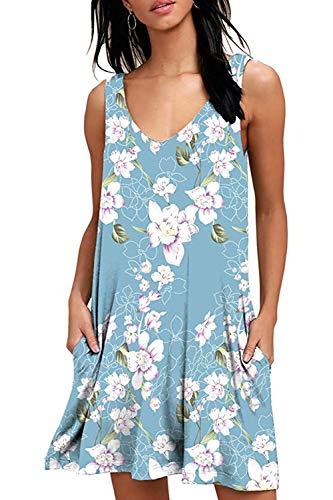 Women's Summer Casual Tank Dress Sleeveless Floral Swing T-Shirt Loose Sundress with Pockets (Light Blue Dress#6228, XX-Large)