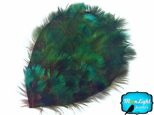 1 Piece - Iridescent Green Peacock Plumage Handmade Feather Pad Wedding Costume | Moonlight Feather -