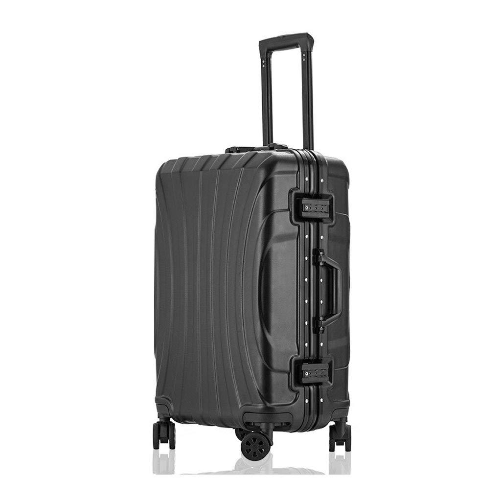 ハードシェルトラベルトロリースーツケース荷物セットスーパー軽量ABSトラベルホールドチェックイン荷物スーツケース付き4ホイールキャビンケース、41 * 27 * 62.5 cm  black B07MCHVT8K