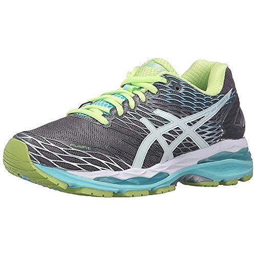 ASICS Women's Gel-Nimbus 18 Running Shoe, Titanium/White/Turquoise, 7.5 D US