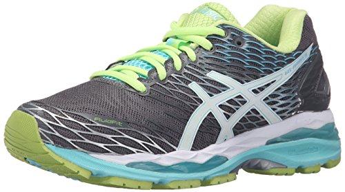 ASICS Women's Gel-Nimbus 18 Running Shoe, Titanium/White/Turquoise, 8 M US