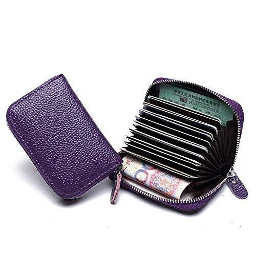 レザークレジットカードホルダー、男性&女性用収納ID/クレジットカードホルダー用カードケース二つ折りジッパー財布(紫の)   B07BKYHZ55
