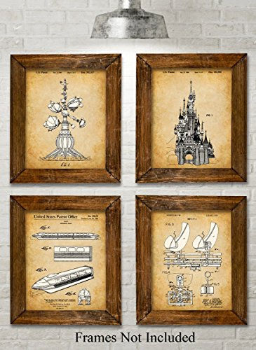 original-disney-rides-patent-art-prints-set-of-four-photos-8x10-unframed-great-gift-for-disney-fans