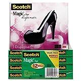 3M/COMMERCIAL TAPE DIV 810K12C30B Magic Tape Value Pack with Black Shoe Dispenser, 3/4quot; x 1000quot;, 12/Pack