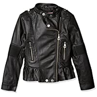 Urban Republic Big Girls Faux Pu Jacket, Black1, 16