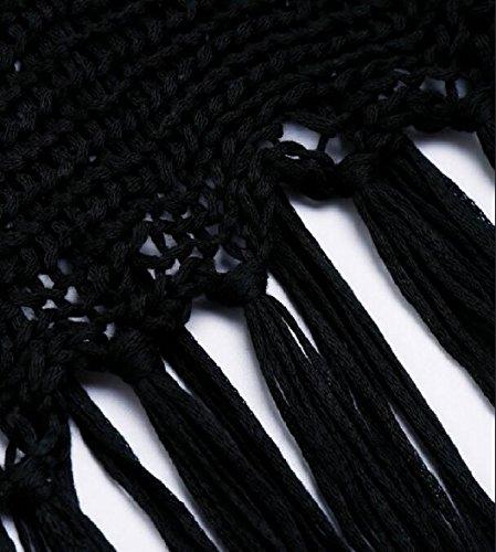 Qianqian-au Sans Manches Sexy Des Femmes Voir À Travers La Couverture Bikini Robe Tricot En Noir