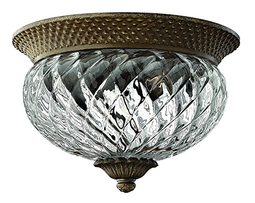 Plantation Pearl Four Bronze Light (Traditional Two Light Flush Mount from Plantation collection in Pearl Bronze/Darkfinish)